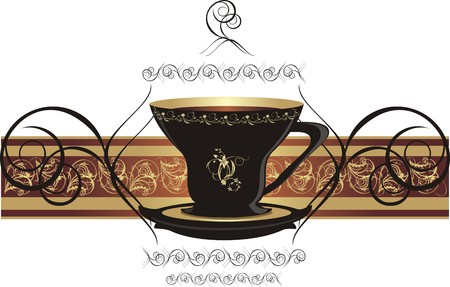 Cup with coffee and decorative ribbon.