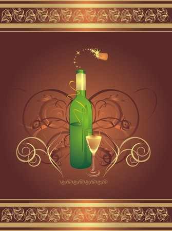 flowed: Glass and bottle. Decorative wrapping.