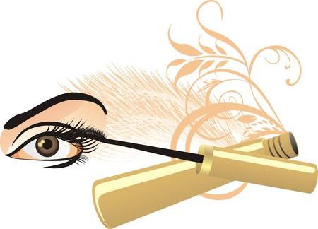 cilia: Female eye, mascara and decorative ornament. Vector