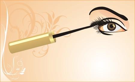 rímel: Female eye and mascara. Card. Vector
