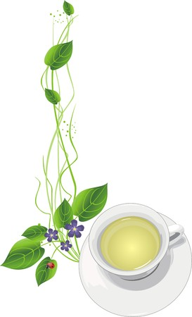 porcelain flower: Cup with tea and sprigs.  Illustration