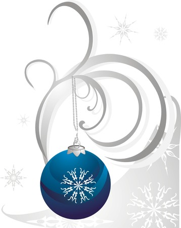 flowed: Christmas ball and snowflakes. Vector