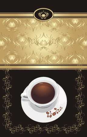 Ornament with cup of coffee. Pattern for wrapping. Vector Vector