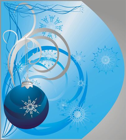 Christmas ball and snowflakes. Background for card. Vector Vector