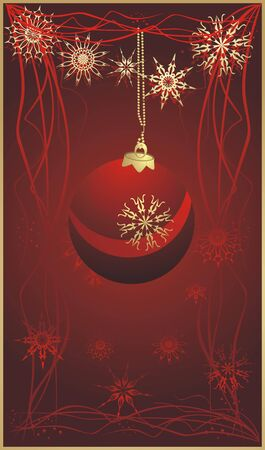 flowed: Christmas ball and snowflakes. Banner. Vector