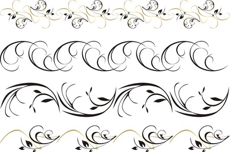 Four patterns of ornament for frame. Vector Vector