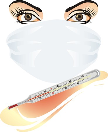 convalescence: Mask and medical thermometer. Vector
