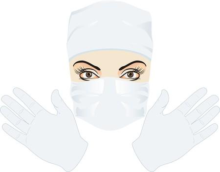 surgeon mask: Retrato de m�dico. Vector