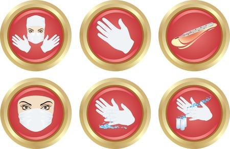 prophylaxe: Satz von eine medizinische Symbole. Vektor