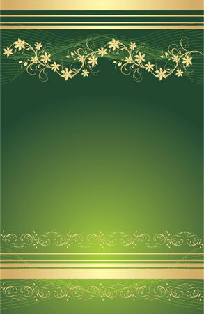 Gold floral ornament. Background for card. Vector Vector