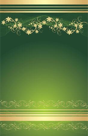 Gold floral ornament. Background for card. Vector Иллюстрация