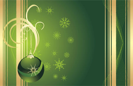 flowed: Green Christmas ball with snowflakes. Card. Vector