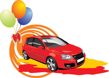 Red car with colorful balls. Vector Vector