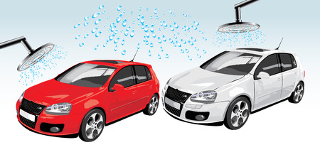 Cars on the auto washing. Abstract composition. Vector