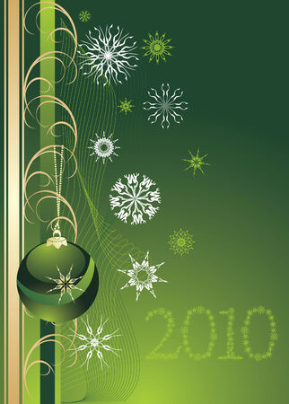 flowed: Green Christmas ball with snowflakes. Background for card. Vector Illustration