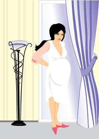bekleyen: An expectant mother in a room. Vector Çizim