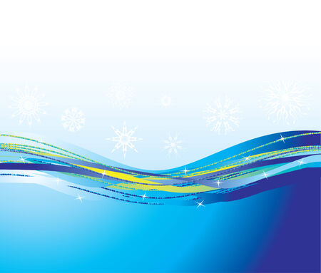 Blue waves and snowflakes. Background. Vector Vector