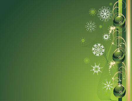 flowed: Three green Christmas balls with snowflakes. Background for card. Vector