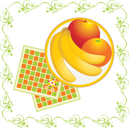 serviettes: Serviettes and dish with fruits. Vector