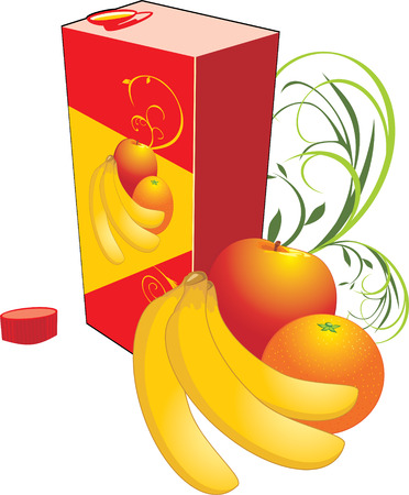 Fruits and packing with juice. Vector Vector
