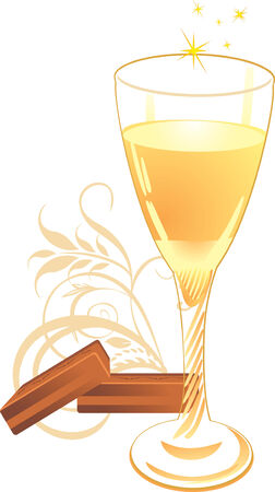 pastille: Candies and glass with champagne. Vector