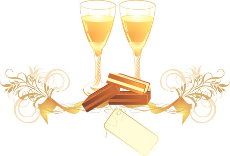 pastille: Candies and glasses with champagne. Vector