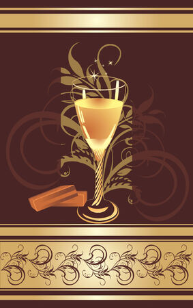 Candies and glass with champagne. Pattern for wrapping. Vector Vector