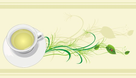 Cup with tea, sprig and ladybird.  Vector