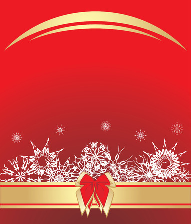 Snowflakes with bow on the red background. Stock Vector - 6068913