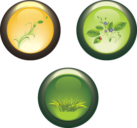 Three isolated buttons with spring compositions. Stock Vector - 6068912
