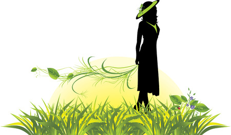 sprig: Female silhouette with sprig among grass.