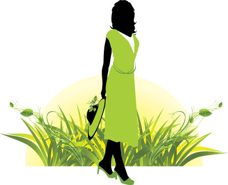 Female silhouette among grass. Spring composition.  Stock Vector - 6068910