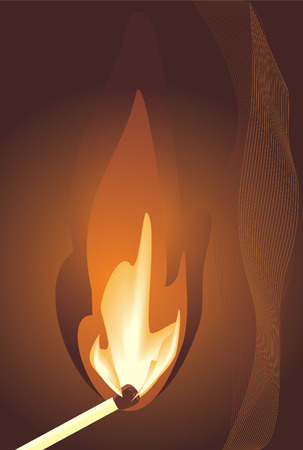 warmly: Burning match. Vector Illustration