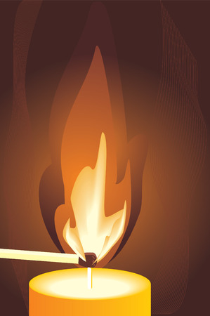 waxen: Burning match and candle. Fragment. Vector