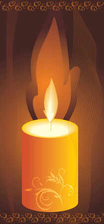 waxen: Burning yellow candle. Vector Illustration
