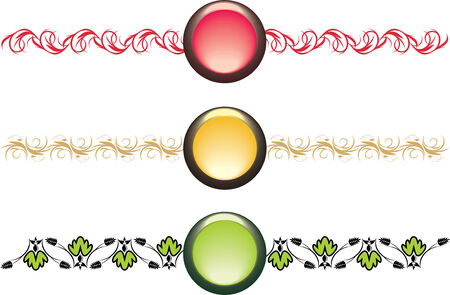 Three isolated buttons with ornament. Vector Vector