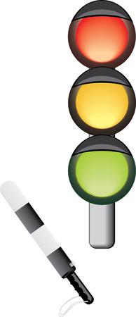 Traffic-light and rod. Vector Vector