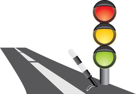 Traffic-light and rod. Fragment of road. Vector Vector