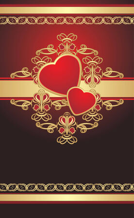 Gothic ornament with hearts on the gold ribbon. Wrapping. Vector Vector