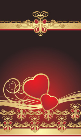 Gothic ornament with hearts. Wrapping. Vector Vector