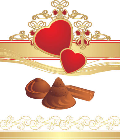 pastille: Candies and hearts on the gothic ornament. Vector Illustration