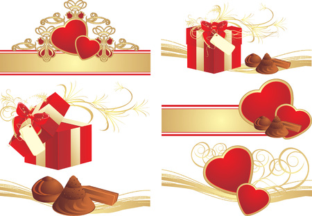 Collection of romance compositions to the Valentines Day. Vector Stock Vector - 6186760