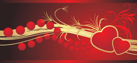 Two hearts with red beads. Banner. Vector Vector