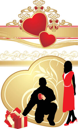 Female and masculine silhouettes on the background with gothic ornament. Vector Vector