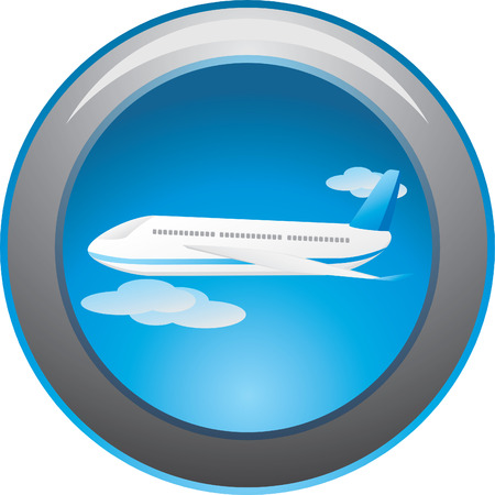 flowed: Airplane among clouds. Button. Vector Illustration
