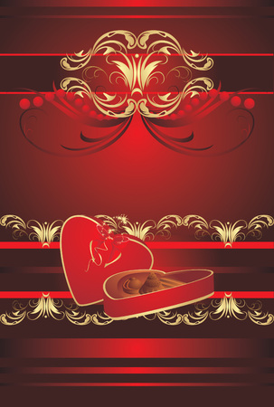 Decorative box with candies and bow on the gothic ornament. Vector Vector