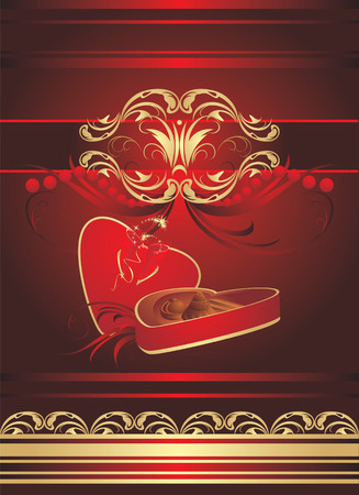 Decorative box with candies and bow on the gothic ornament. Wrapping. Vector Vector