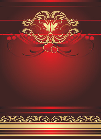 Two hearts with gothic ornament. Background for wrapping. Vector Vector