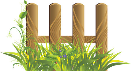 Grass and wooden protection. Spring composition. Vector Stock Vector - 6248355