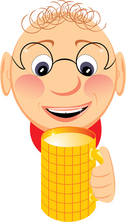 a fellow: Portrait of jovial fellow with mug of beer. Vector Illustration
